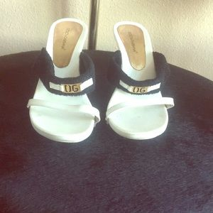 Dolce & Gabbana black and white heeled mules